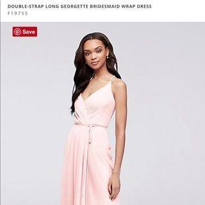 Davids Bridal Double-Strap Georgette Wrap Dress